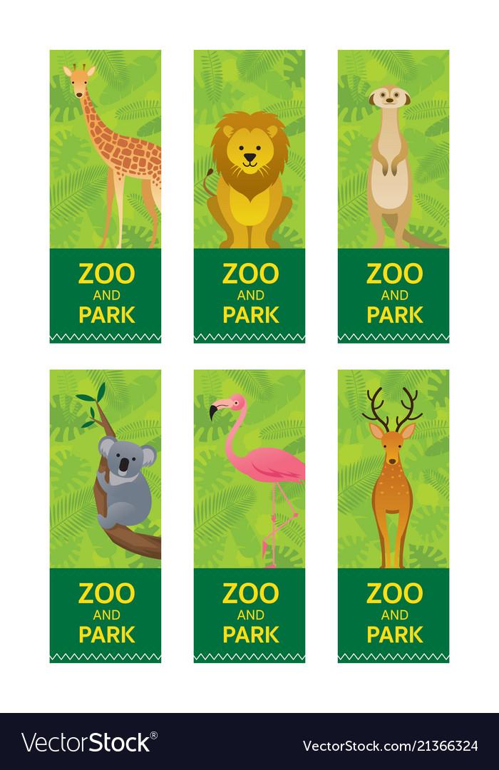 Wild animals in jungle banner ticket