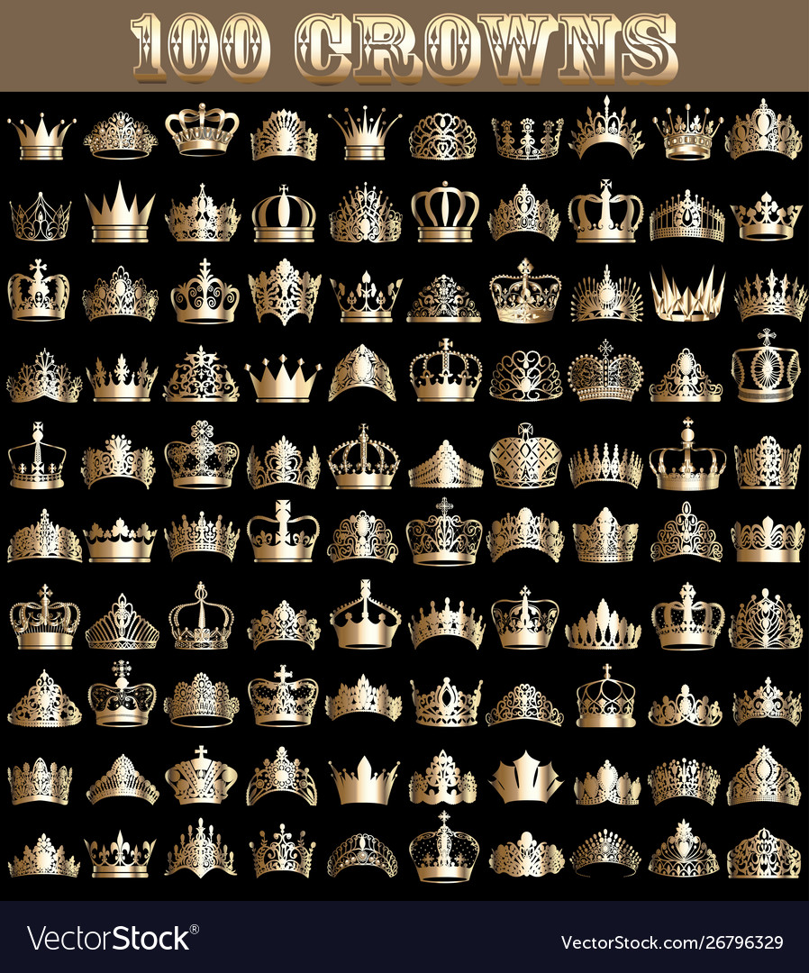 A large set vintage gold 100 crown and diadems