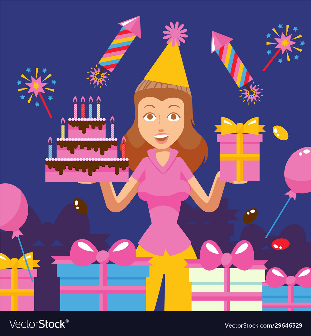 Birthday party celebration cheerful woman holding