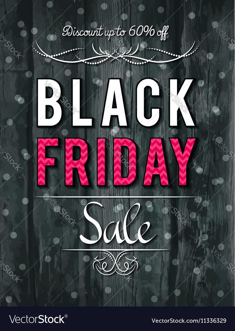 Black friday sale banner on wooden background