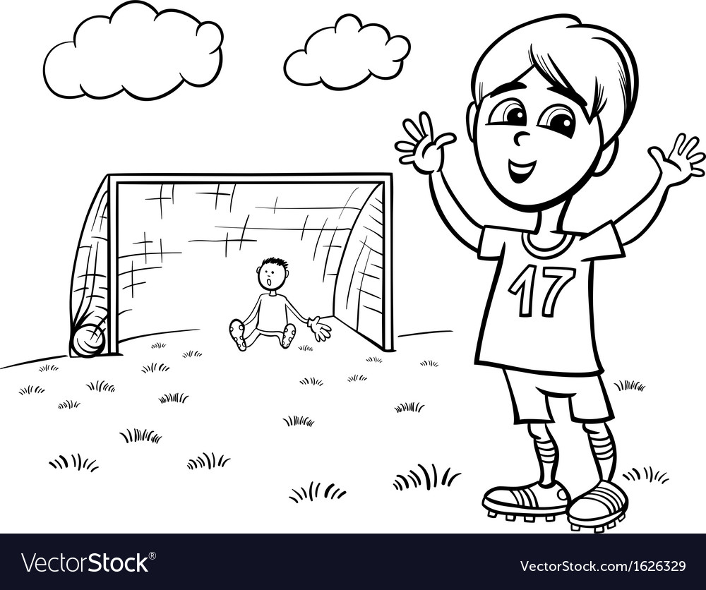 Boy playing soccer coloring page