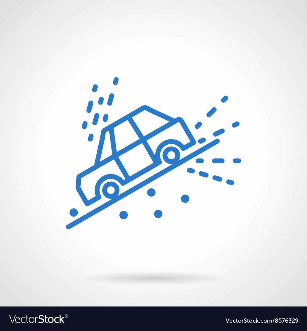 Car slope down blue line icon vector image