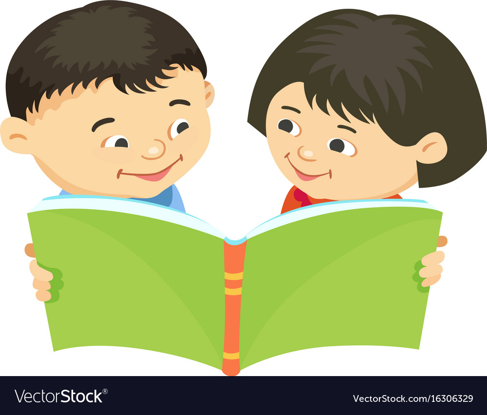 Cartoon Kids Reading Book Asiatic