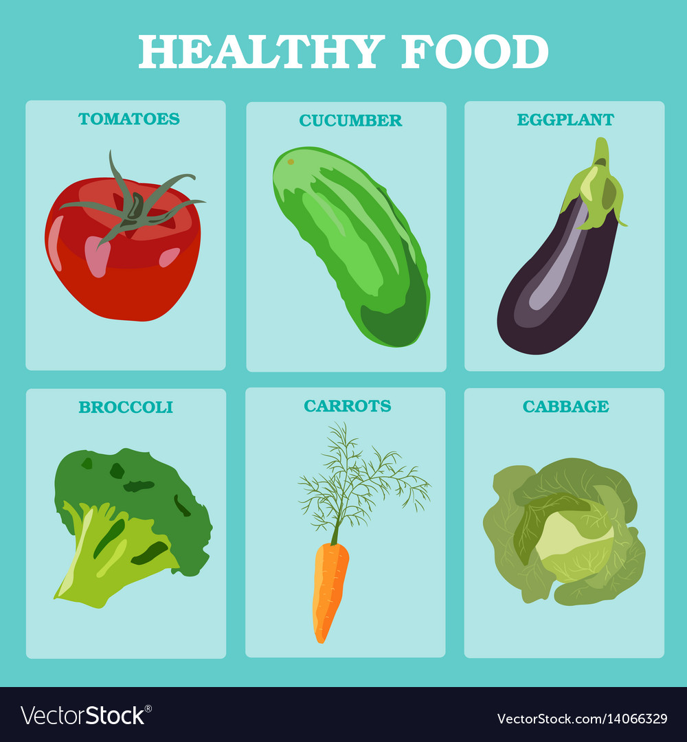 Fresh vegetables concept healthy diet flat style