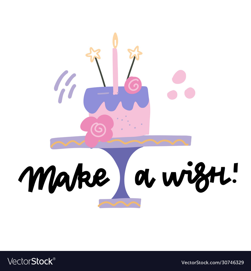 Happy Birthday Cake Make A Wish Lettering Quote Vector Image