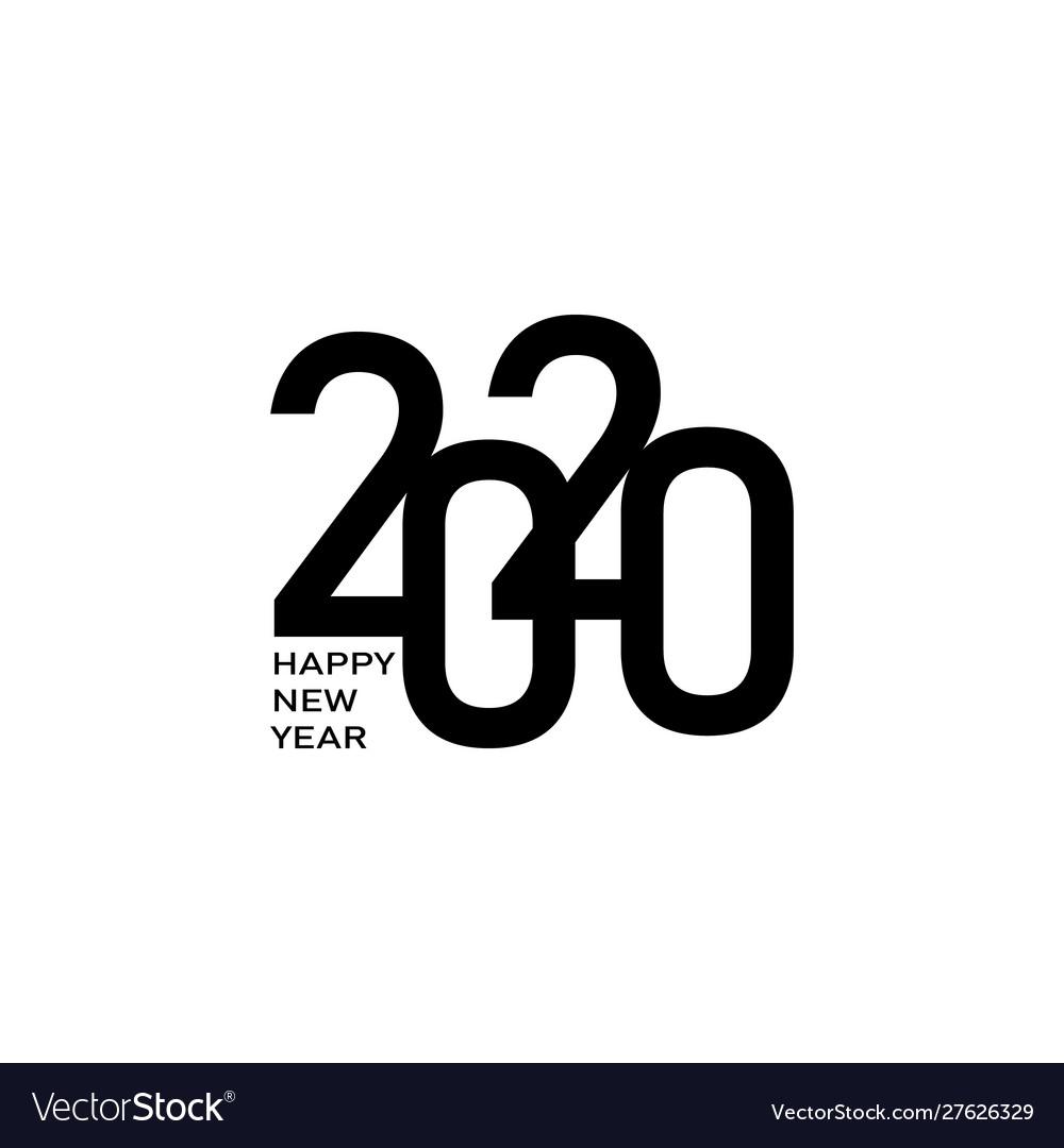 Happy new year 2020 text design logo