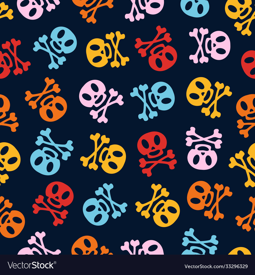 Holiday skulls pattern cartoon color style