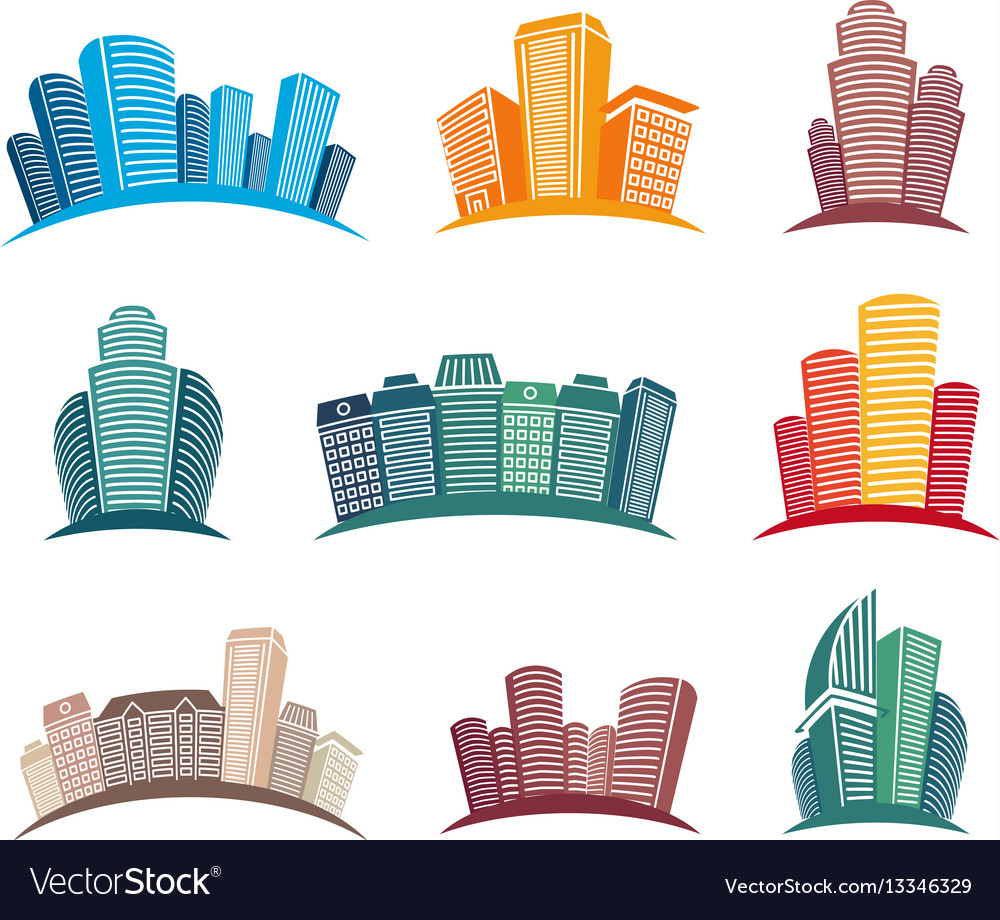 Isolated colorful skyscrapers emblems set