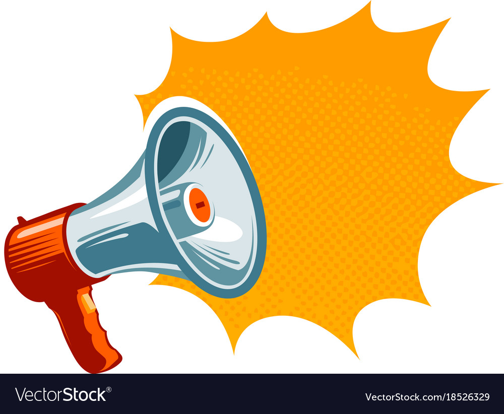 image of megaphone Loudspeaker megaphone bullhorn icon or symbol Vector Image