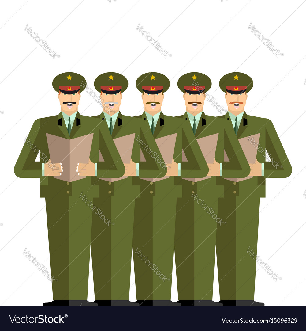 Military choir officers sing songs war band army