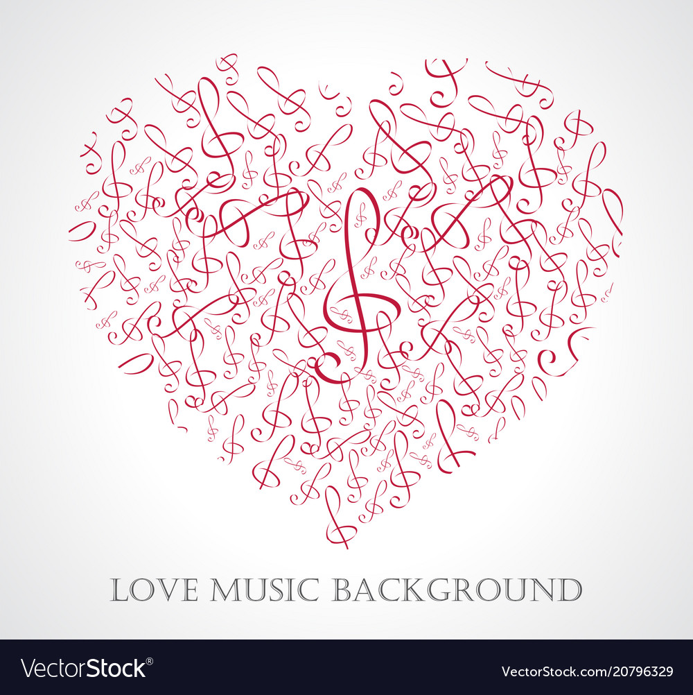 Musical heart with notes