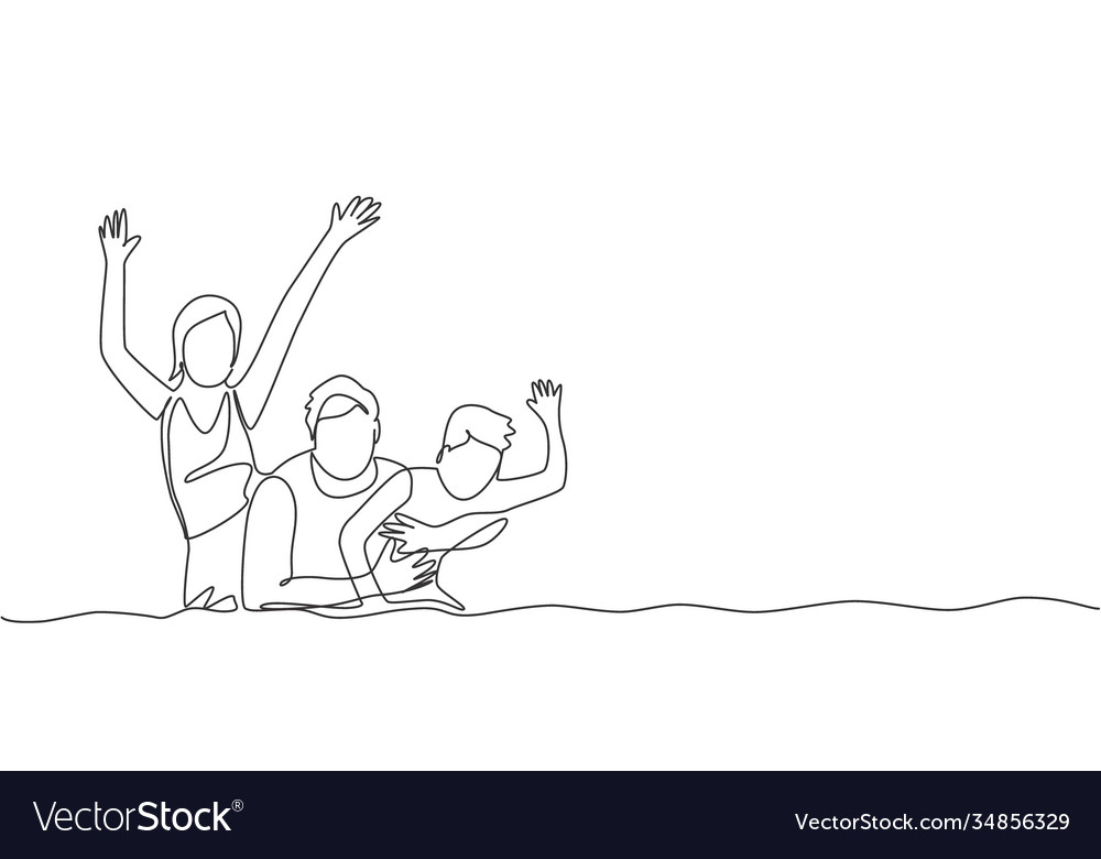 One continuous line drawing happy family