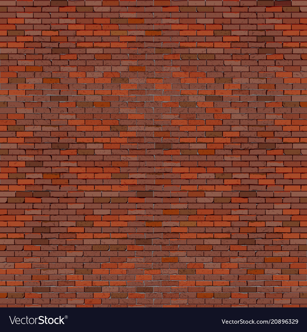Realistic brick wall red