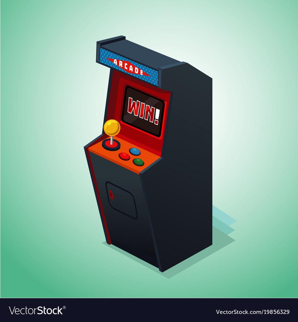 Retro arcade machine isolated on white video game vector image