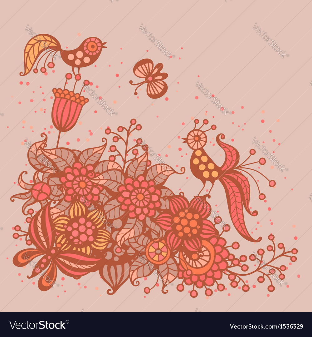 Romantic card with flowers birds and butterflies