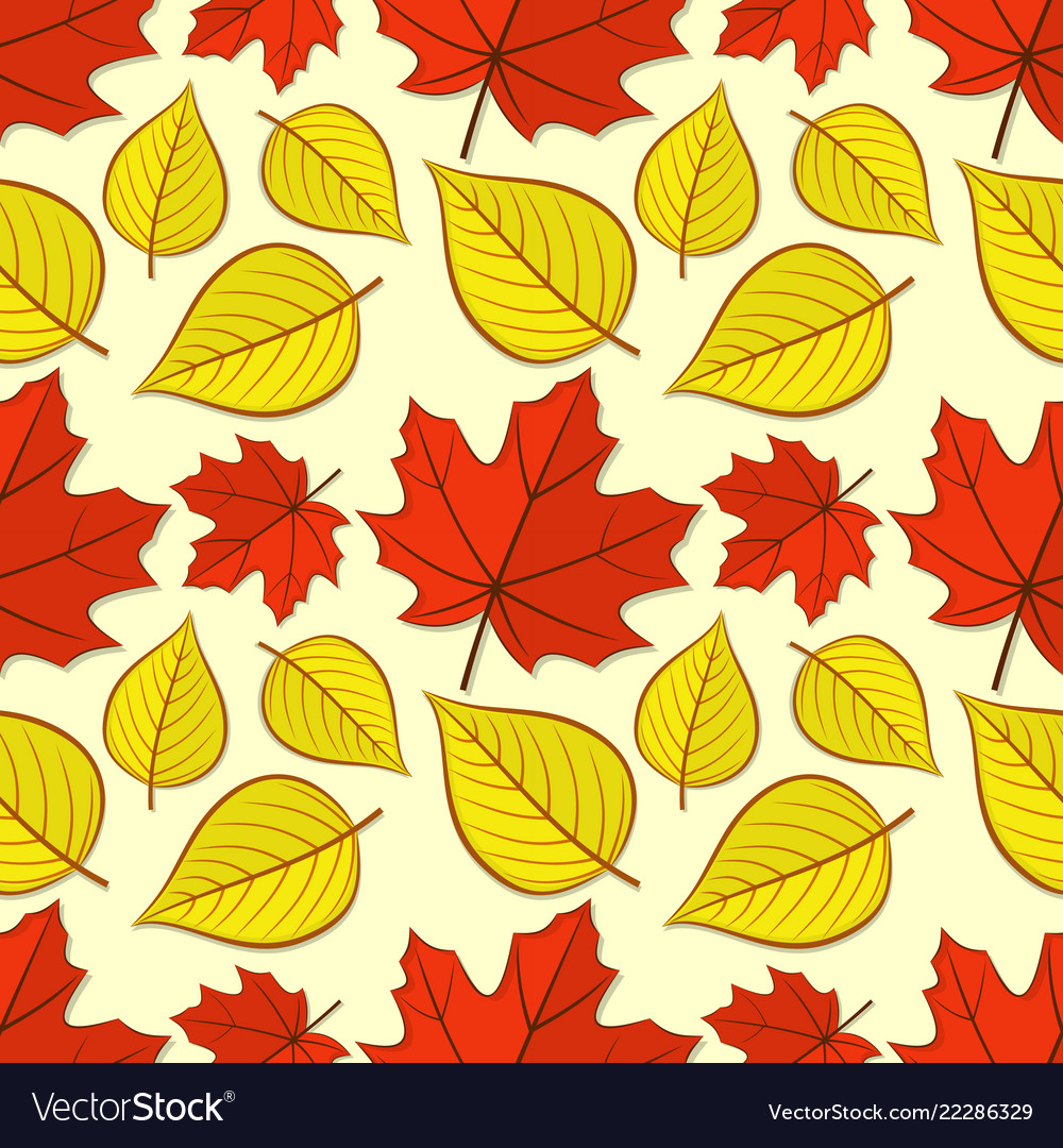 Seamless pattern with maple and linden leaves