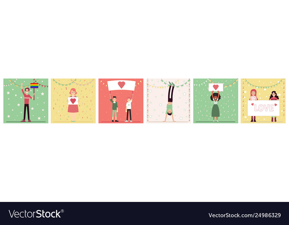 Set people characters standing with heart image