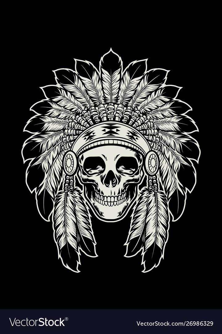 Skull native american indian wearing headdress