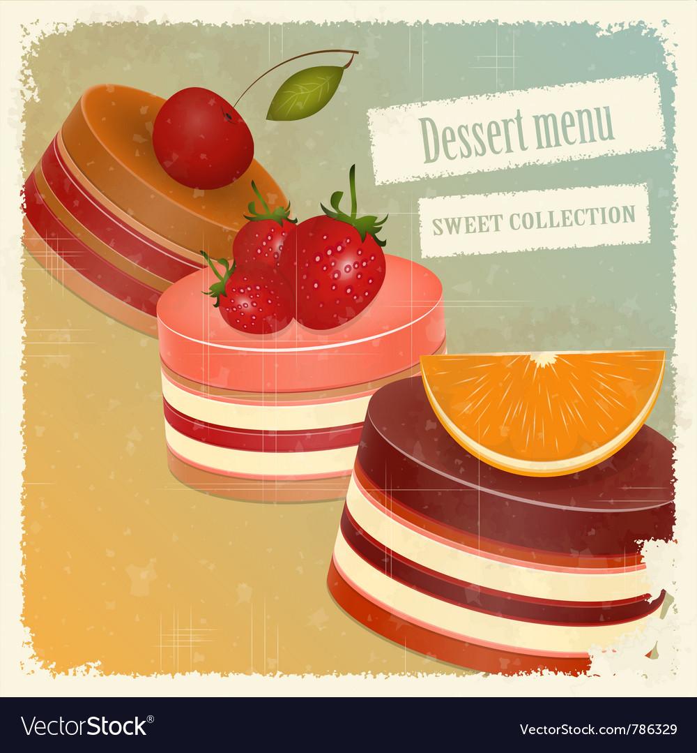 Vintage postcard strawberry chocolate vector image
