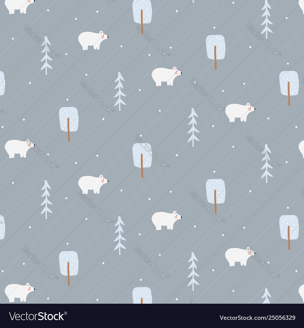 Winter seamless pattern with polar bear