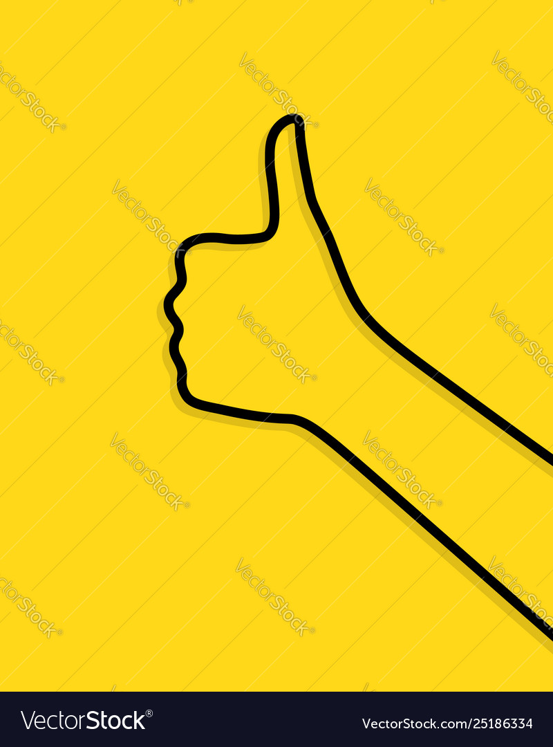 Black linear thumbs up gesture hand