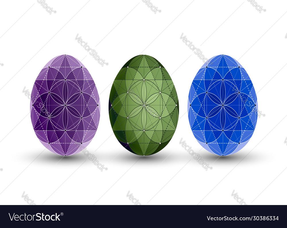 Happy easter set easter eggs flower pattern