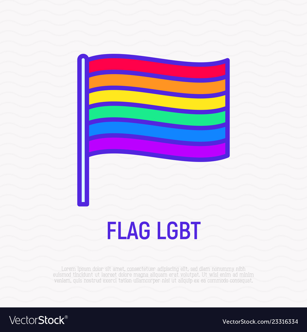 Rainbow flag lgbt thin line icon