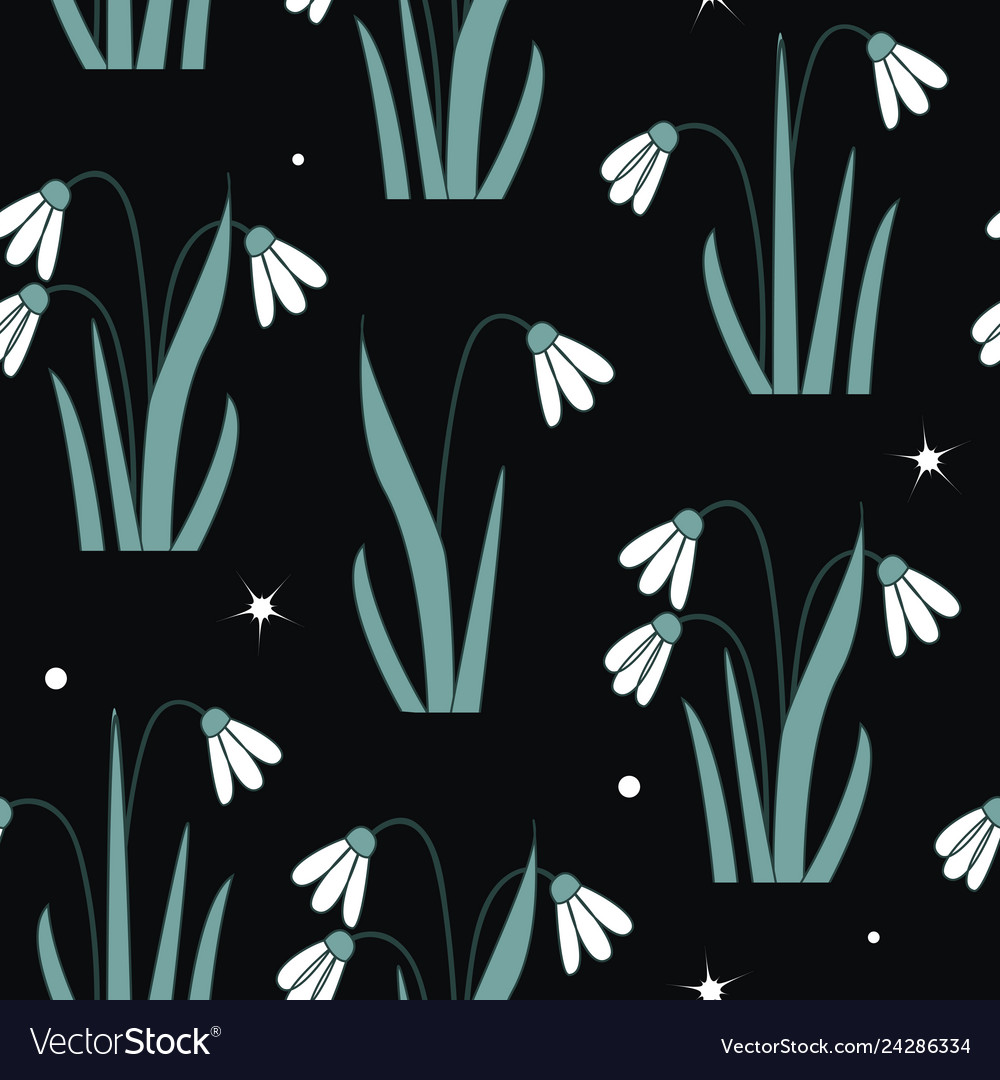 Seamless pattern with first spring flowers