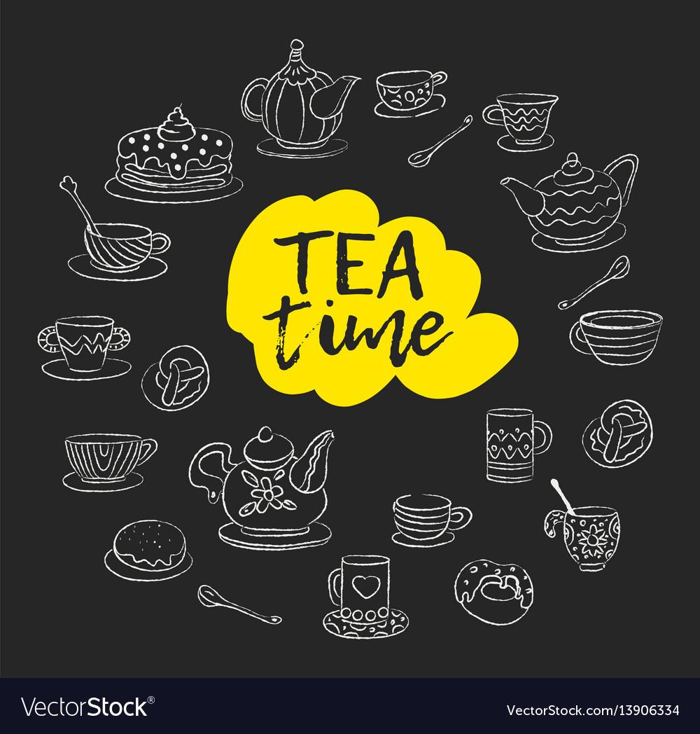 Tea time swirls mugs teapot cakes buns cups