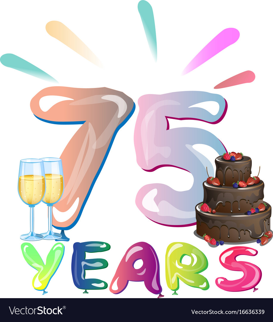 75 th anniversary greeting card with cake vector image m4hsunfo