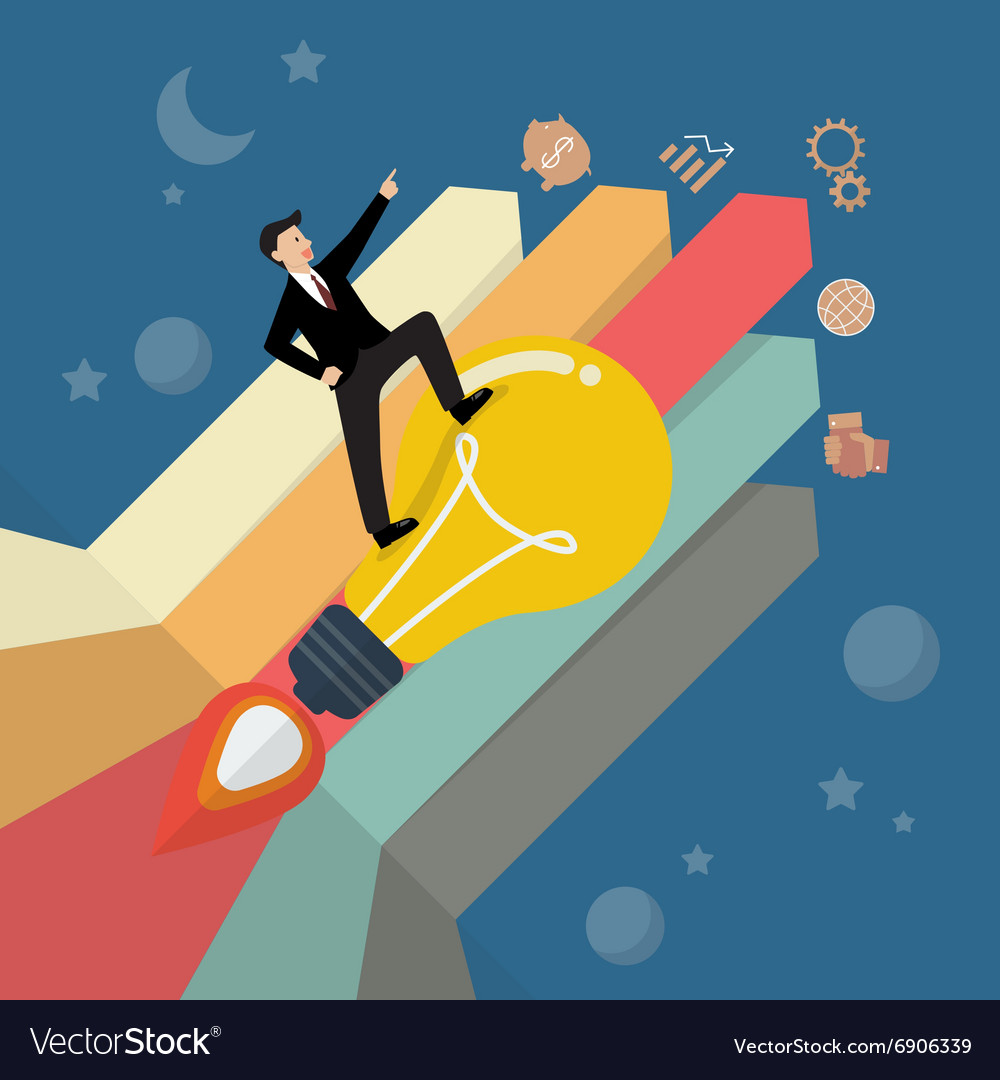 Businessman standing on a lightbulb rocket with