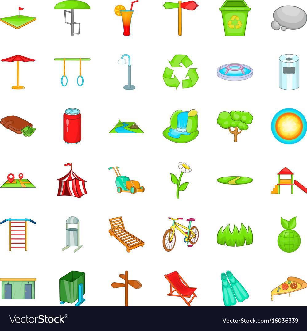 City park icons set cartoon style vector image