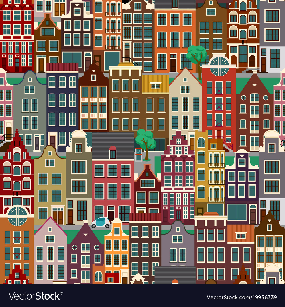 City streets with old buildings seamless pattern