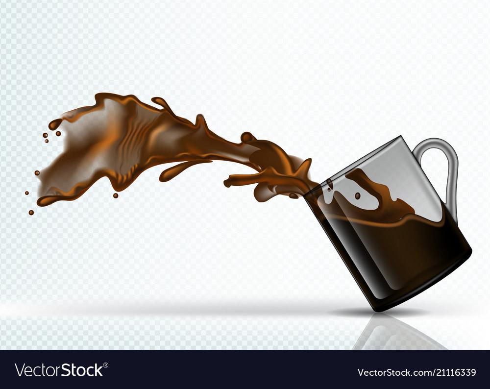Coffee splash from falling glass