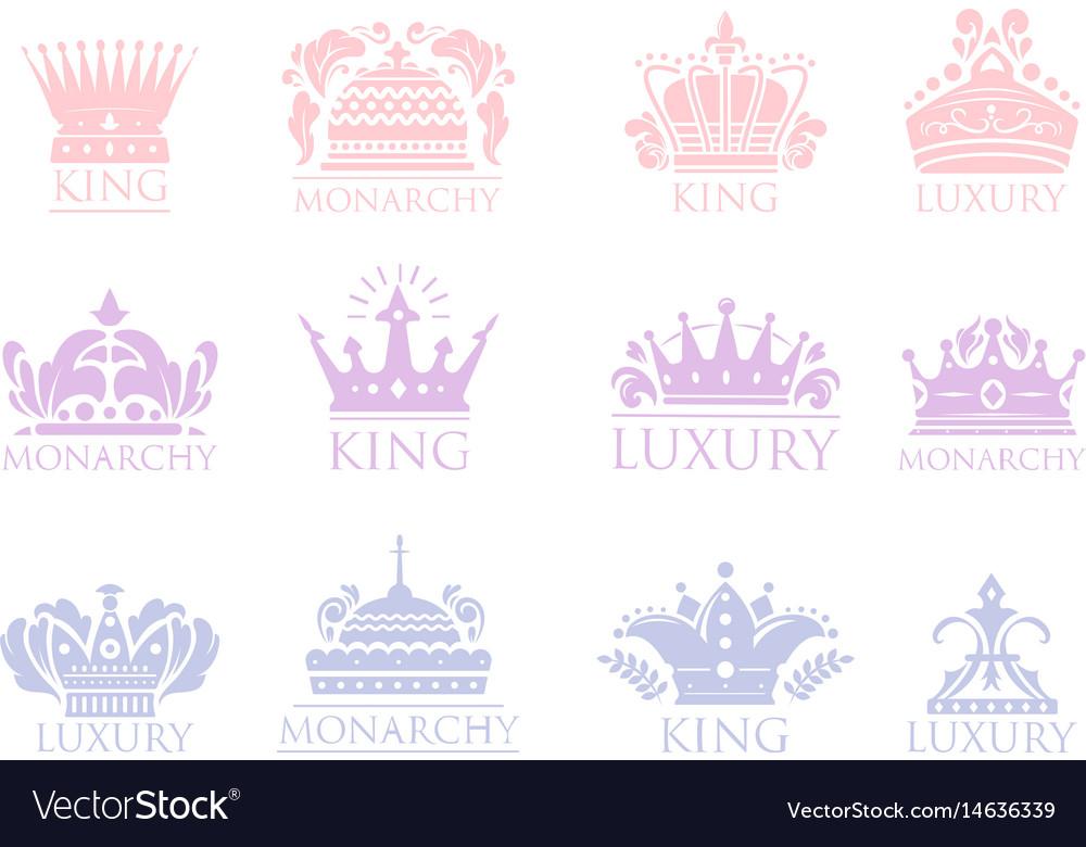 Crown king vintage premium badge heraldic ornament vector image