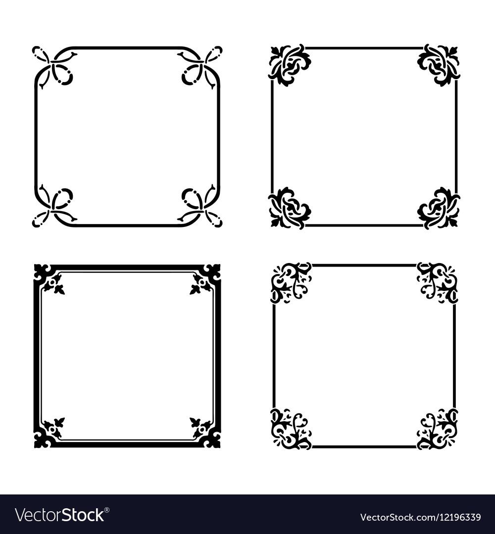 Decorative square ornate design elements