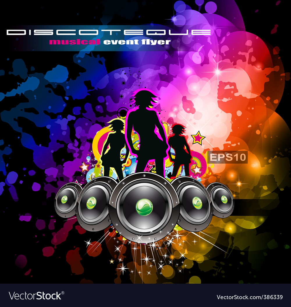 disco flyer girls royalty free vector image vectorstock