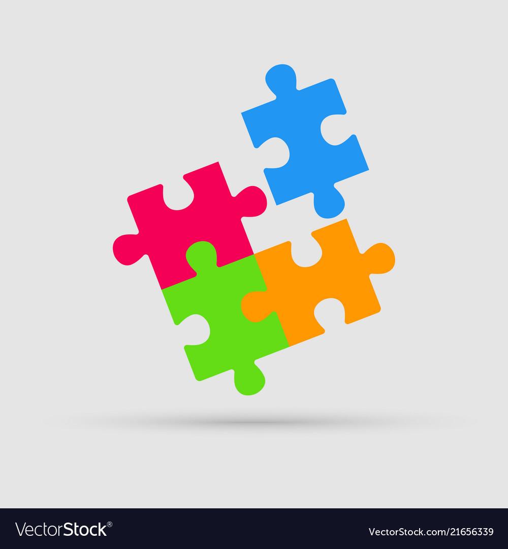 Four color pieces puzzle square 4 steps puzzle