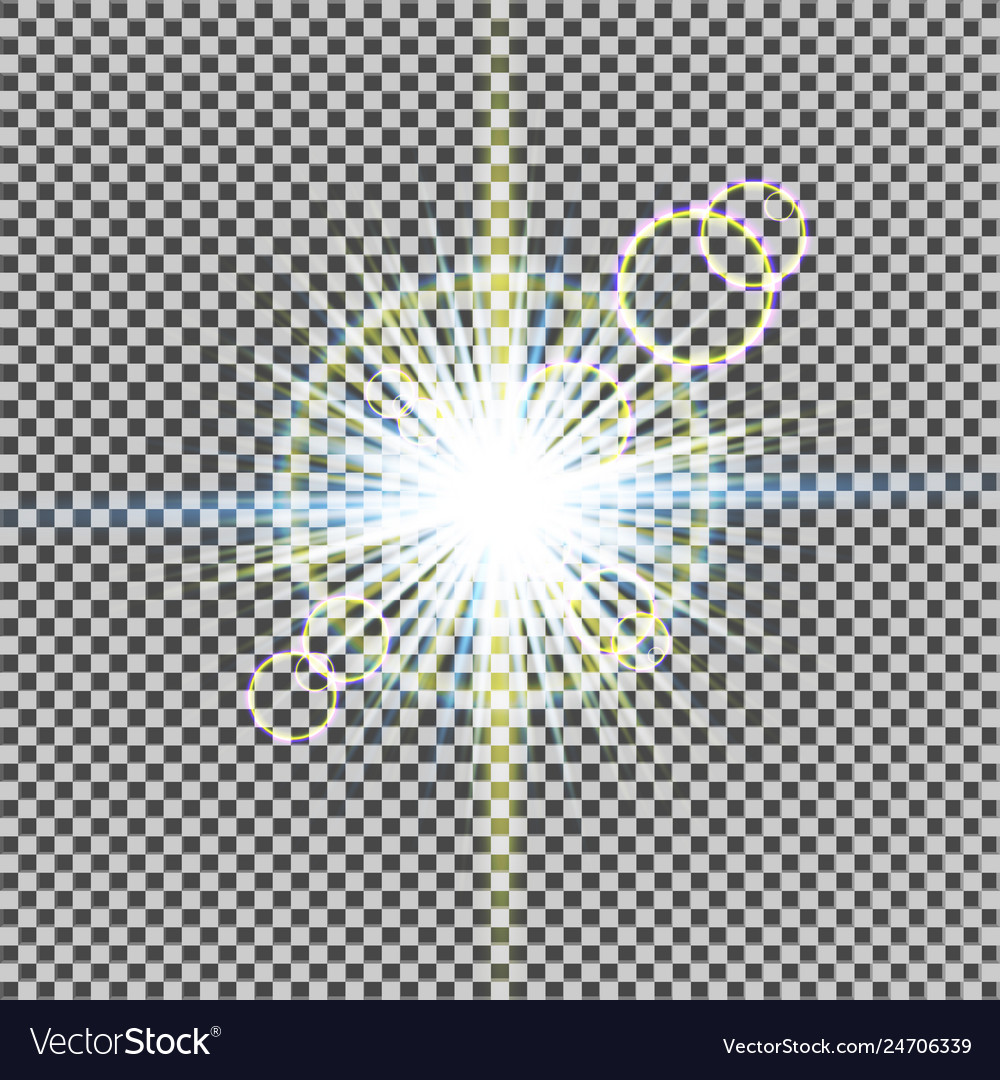 Glow light effect starburst with sparkles on