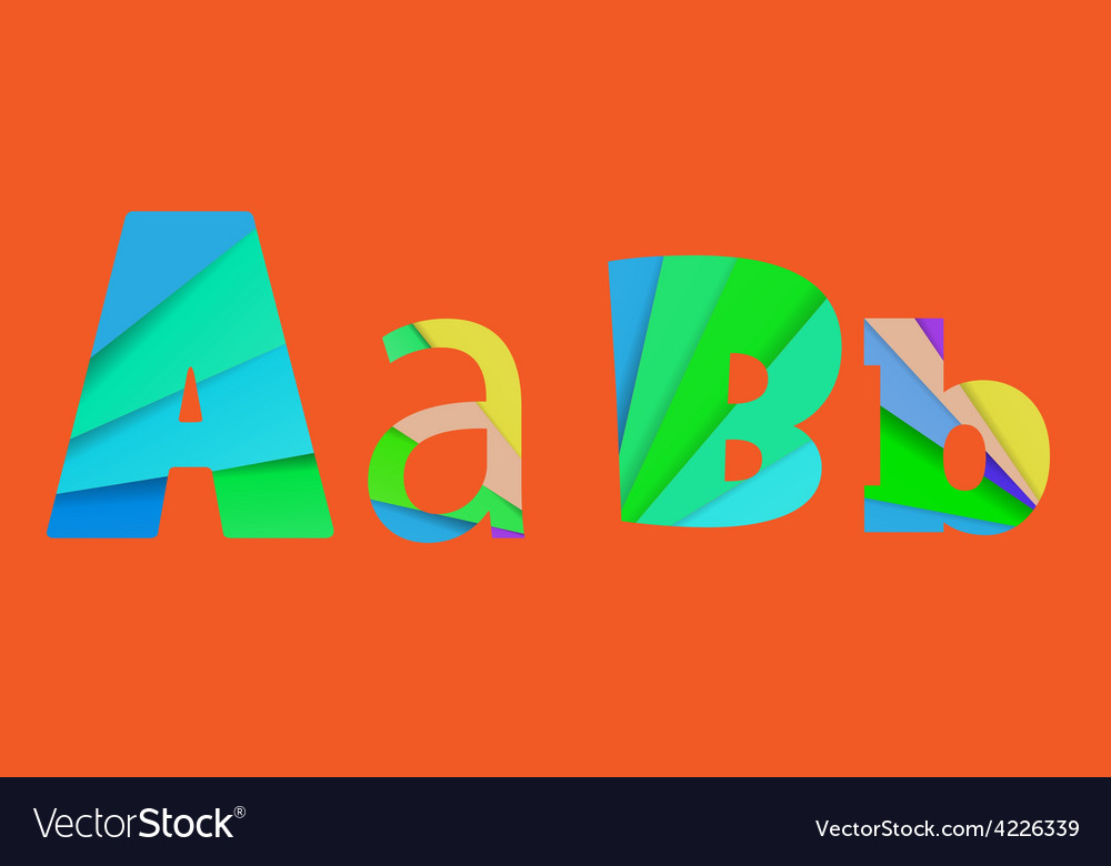 Inner shadow font AB Alphabet design full color