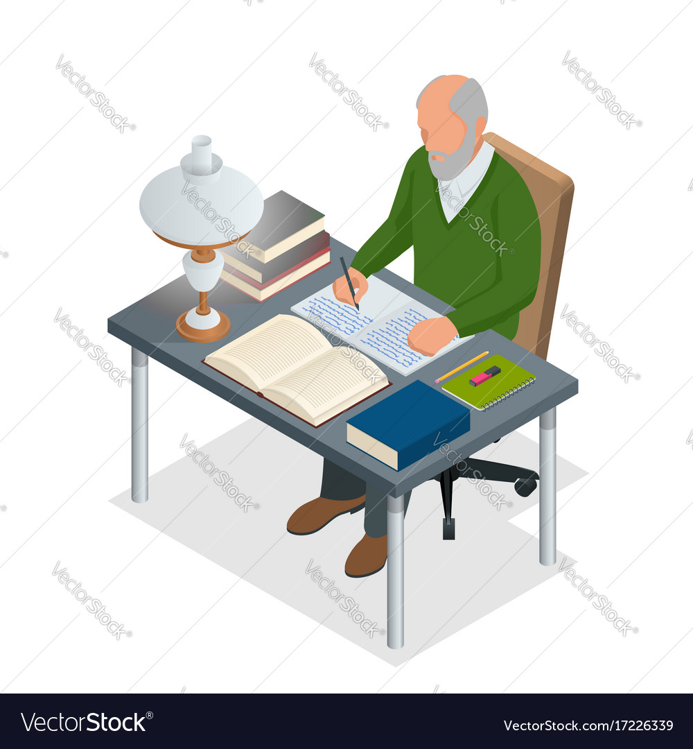 Isometric old people or senior man the old man