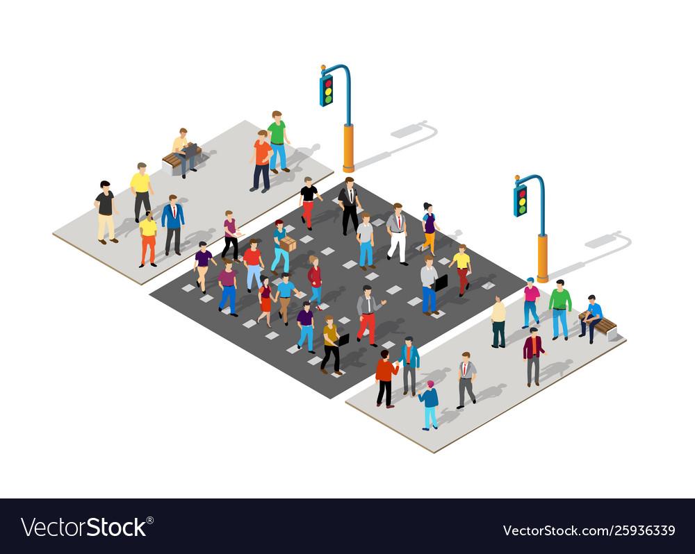 Isometric people walking