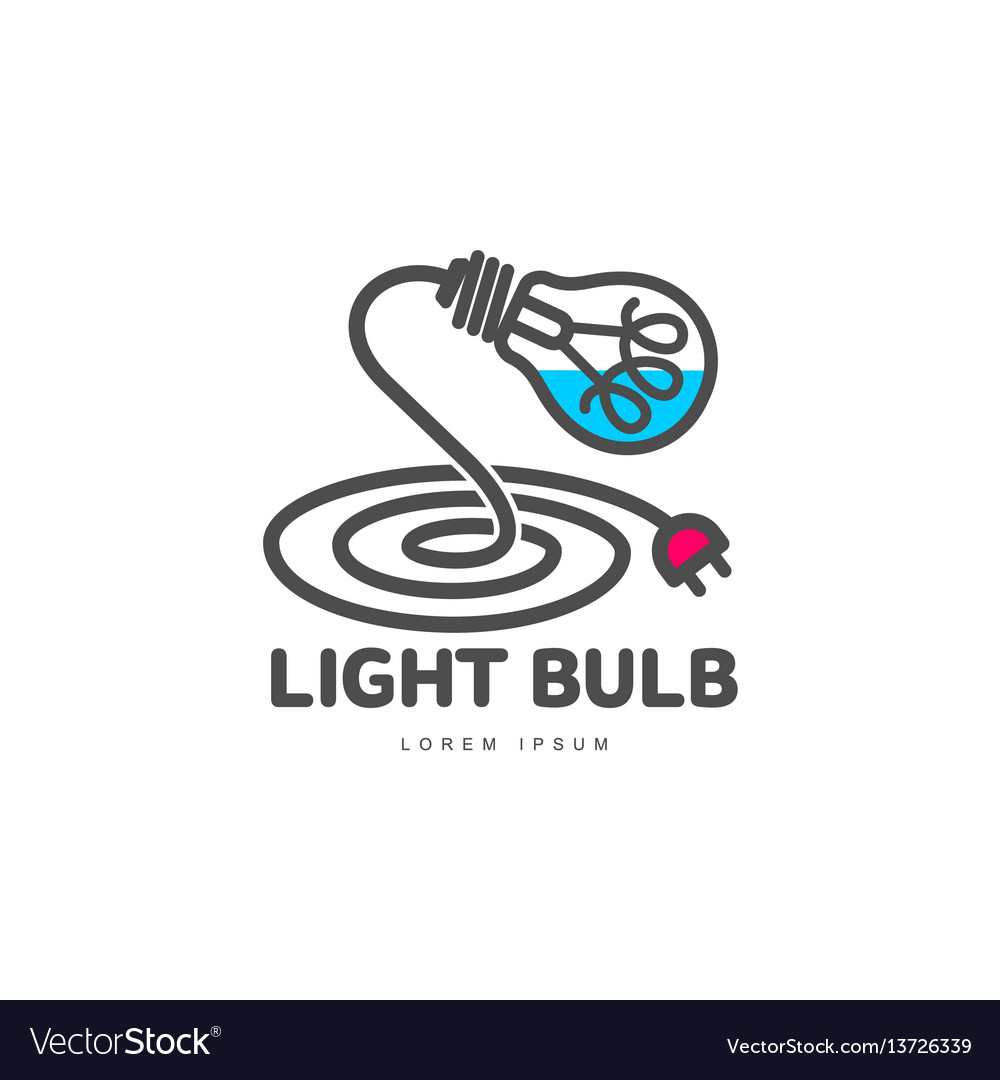 Logo with light bulb and power cable forming table