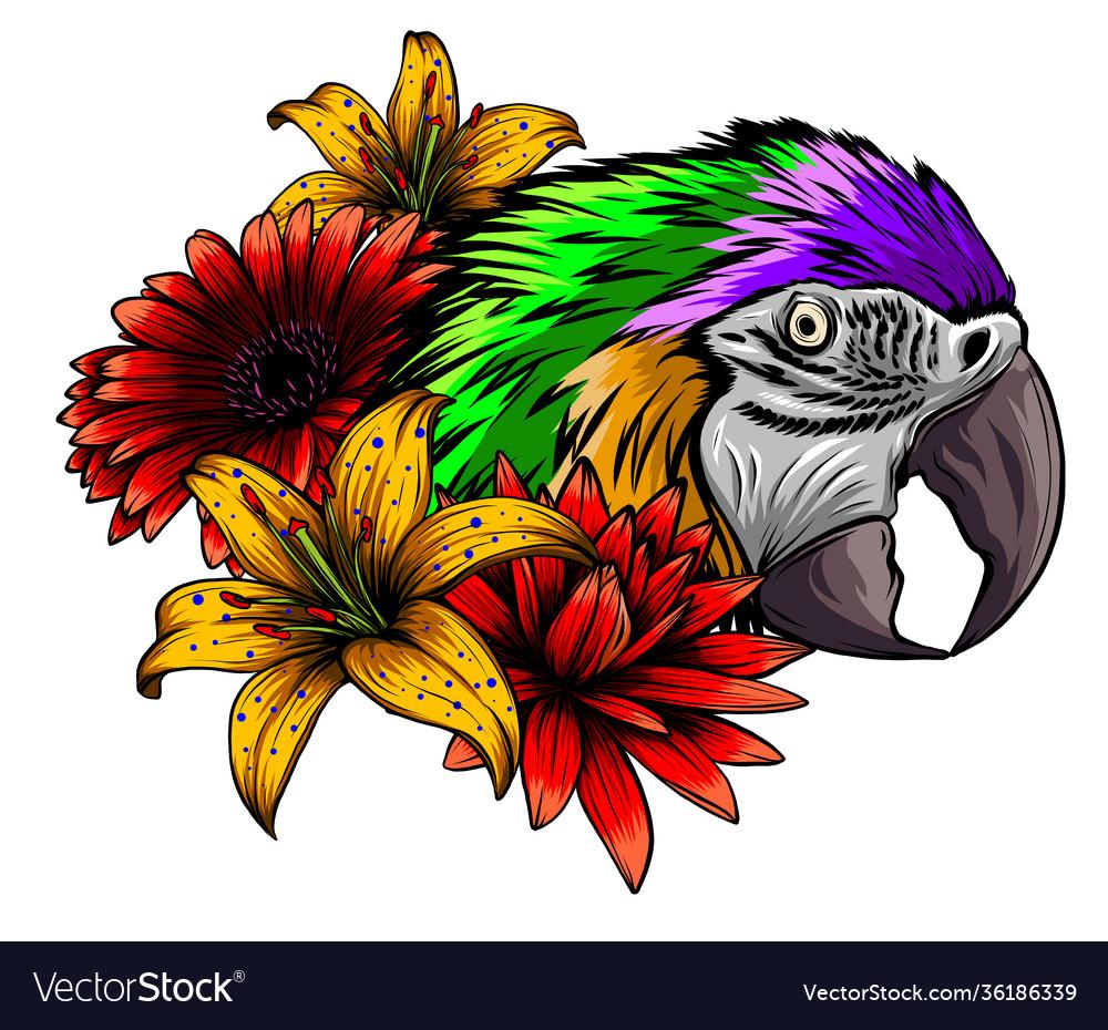 Parrot macaw watercolor hibiscus bird jungle