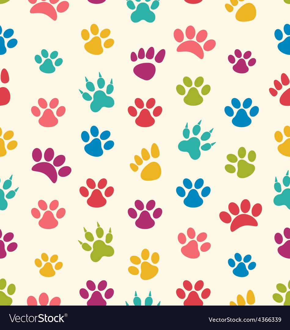 Seamless Texture with Traces of Cats Dogs Imprints