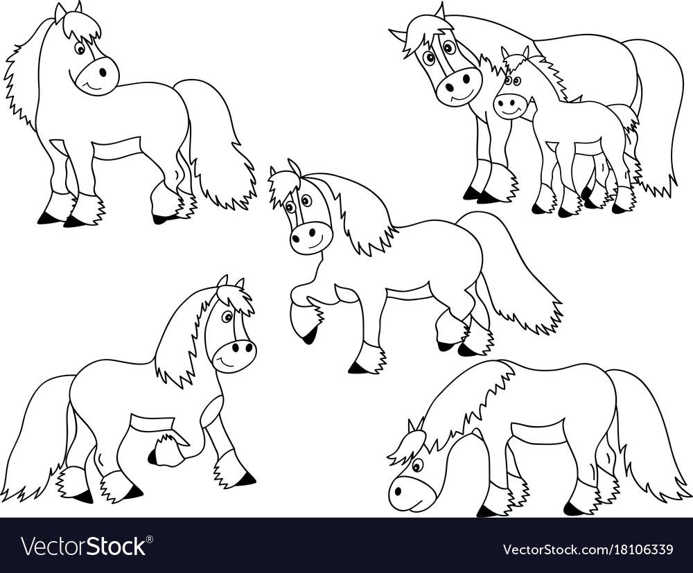 Set of cute cartoon horses
