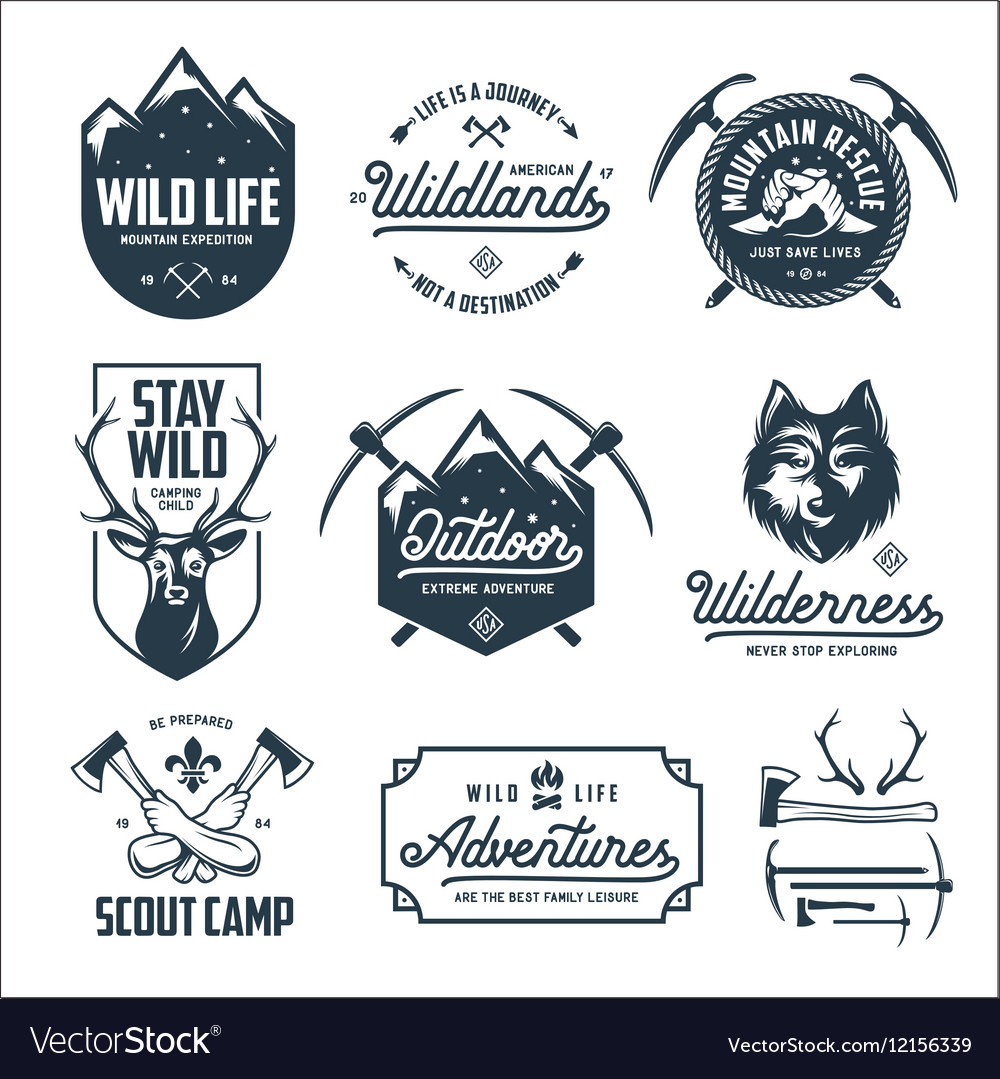Set of outdoor wild life related labels badges