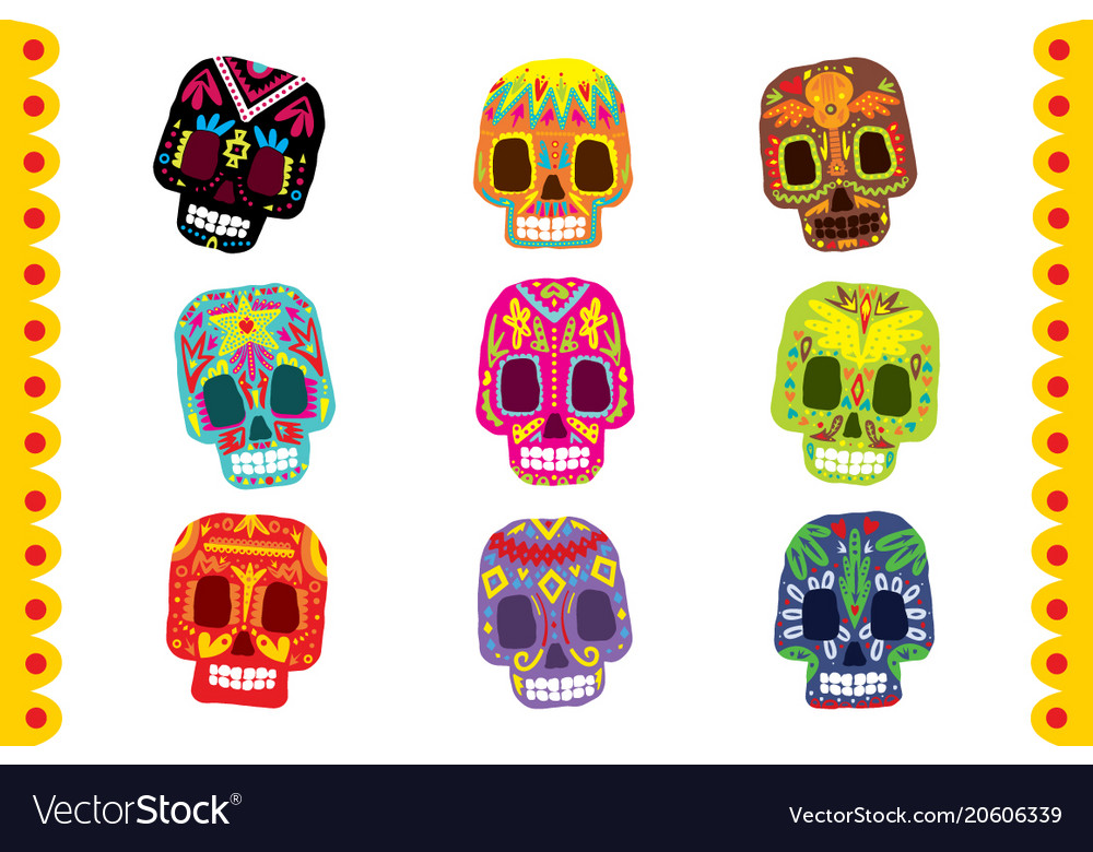 Sugar skull set day of the dead traditional
