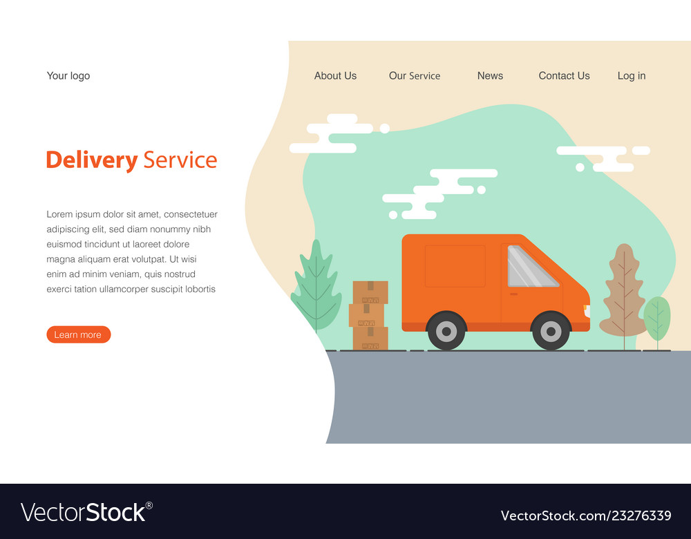 Website template design for delivery service