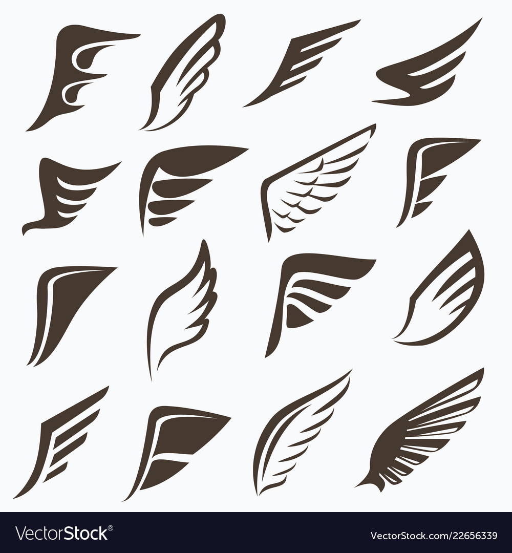 Wings collection set of elements for logo design